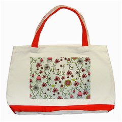 Pink whimsical flowers on blue Classic Tote Bag (Red)