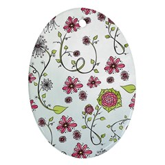 Pink Whimsical Flowers On Blue Oval Ornament (two Sides)