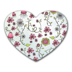 Pink whimsical flowers on blue Mouse Pad (Heart)