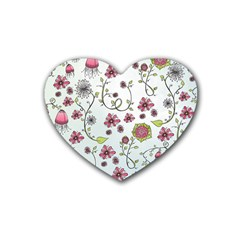 Pink whimsical flowers on blue Drink Coasters 4 Pack (Heart)