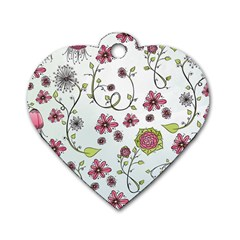 Pink whimsical flowers on blue Dog Tag Heart (One Sided)