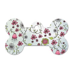 Pink whimsical flowers on blue Dog Tag Bone (Two Sided)