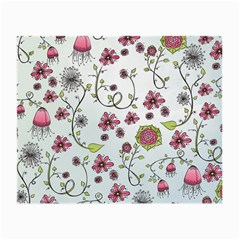 Pink whimsical flowers on blue Glasses Cloth (Small, Two Sided)