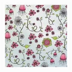 Pink whimsical flowers on blue Glasses Cloth (Medium, Two Sided)