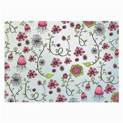 Pink whimsical flowers on blue Glasses Cloth (Large, Two Sided)