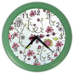 Pink whimsical flowers on blue Wall Clock (Color)
