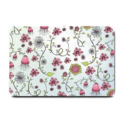 Pink whimsical flowers on blue Small Door Mat