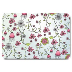 Pink whimsical flowers on blue Large Door Mat