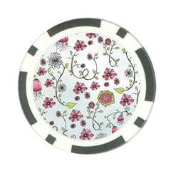 Pink whimsical flowers on blue Poker Chip