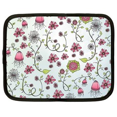 Pink Whimsical Flowers On Blue Netbook Sleeve (large)
