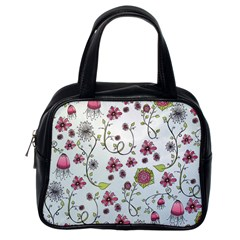Pink Whimsical Flowers On Blue Classic Handbag (one Side)