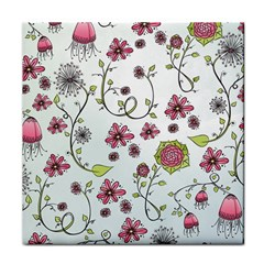 Pink whimsical flowers on blue Face Towel