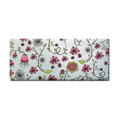 Pink whimsical flowers on blue Hand Towel