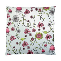 Pink Whimsical Flowers On Blue Cushion Case (single Sided)