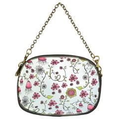 Pink whimsical flowers on blue Chain Purse (Two Sided)