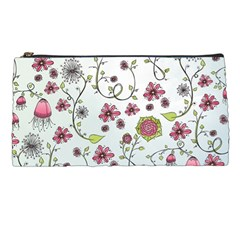 Pink whimsical flowers on blue Pencil Case