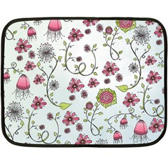 Pink whimsical flowers on blue Mini Fleece Blanket (Two Sided)