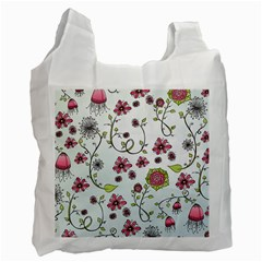 Pink Whimsical Flowers On Blue White Reusable Bag (two Sides)
