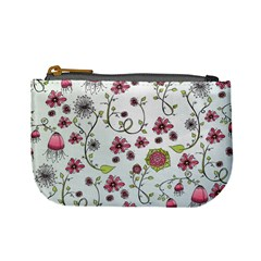 Pink whimsical flowers on blue Coin Change Purse