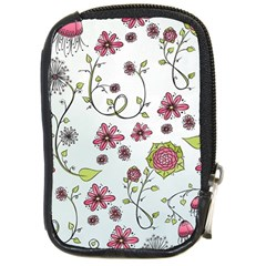Pink whimsical flowers on blue Compact Camera Leather Case