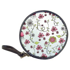 Pink Whimsical Flowers On Blue Cd Wallet