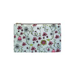 Pink whimsical flowers on blue Cosmetic Bag (Small)