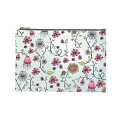 Pink whimsical flowers on blue Cosmetic Bag (Large)
