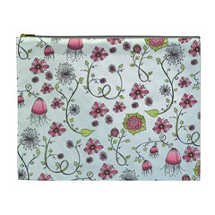 Pink Whimsical Flowers On Blue Cosmetic Bag (xl)