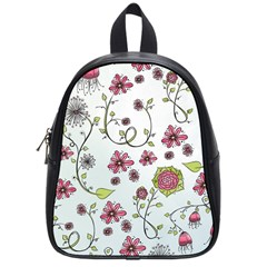 Pink whimsical flowers on blue School Bag (Small)