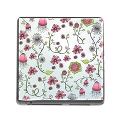 Pink Whimsical Flowers On Blue Memory Card Reader With Storage (square)