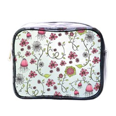 Pink Whimsical Flowers On Blue Mini Travel Toiletry Bag (one Side)
