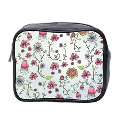 Pink Whimsical Flowers On Blue Mini Travel Toiletry Bag (two Sides)
