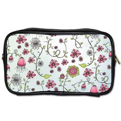 Pink whimsical flowers on blue Travel Toiletry Bag (One Side)
