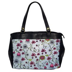 Pink Whimsical Flowers On Blue Oversize Office Handbag (one Side)