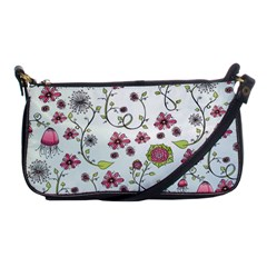 Pink whimsical flowers on blue Evening Bag