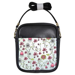Pink Whimsical Flowers On Blue Girl s Sling Bag