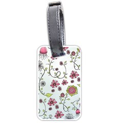 Pink whimsical flowers on blue Luggage Tag (Two Sides)