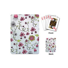 Pink whimsical flowers on blue Playing Cards (Mini)