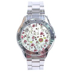 Pink Whimsical Flowers On Blue Stainless Steel Watch