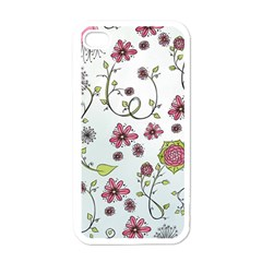 Pink Whimsical Flowers On Blue Apple Iphone 4 Case (white)