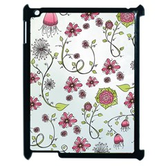 Pink whimsical flowers on blue Apple iPad 2 Case (Black)