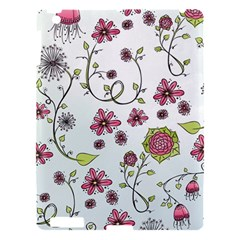 Pink Whimsical Flowers On Blue Apple Ipad 3/4 Hardshell Case