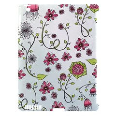 Pink Whimsical Flowers On Blue Apple Ipad 3/4 Hardshell Case (compatible With Smart Cover)