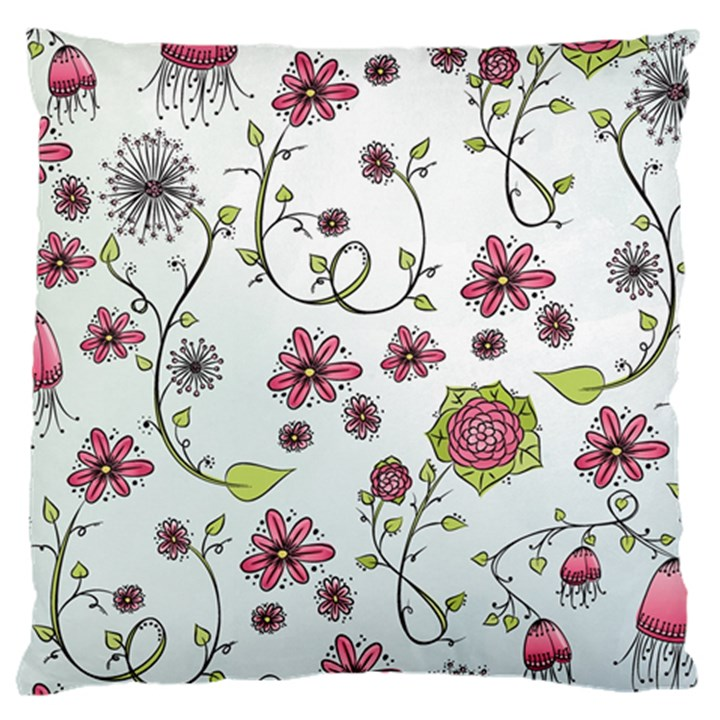 Pink whimsical flowers on blue Large Cushion Case (Two Sided)