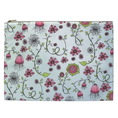 Pink whimsical flowers on blue Cosmetic Bag (XXL)