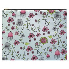 Pink whimsical flowers on blue Cosmetic Bag (XXXL)