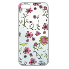 Pink Whimsical Flowers On Blue Apple Seamless Iphone 5 Case (clear)