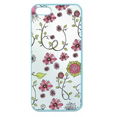 Pink Whimsical Flowers On Blue Apple Seamless Iphone 5 Case (color)