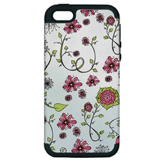 Pink Whimsical Flowers On Blue Apple Iphone 5 Hardshell Case (pc+silicone)