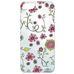 Pink Whimsical Flowers On Blue Apple Iphone 5 Classic Hardshell Case